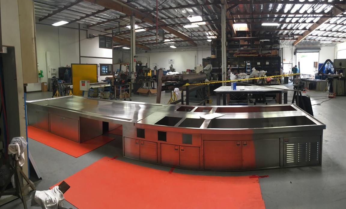image of a metal galley that will be installed on a navy ship
