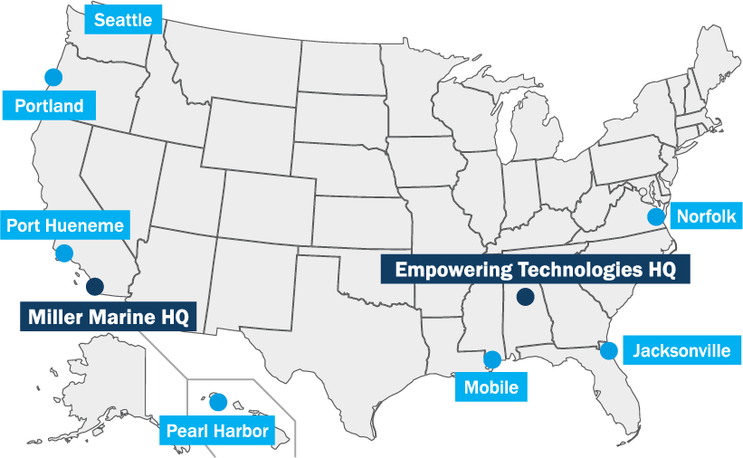 miller marine and empowering technologies locations map